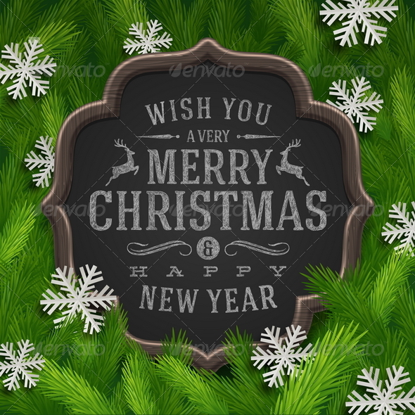 GraphicRiver Chalkboard with Christmas Greeting 5922740