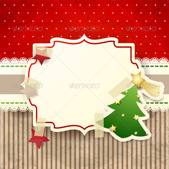 Christmas Background with Paper Tree - Christmas Seasons/Holidays