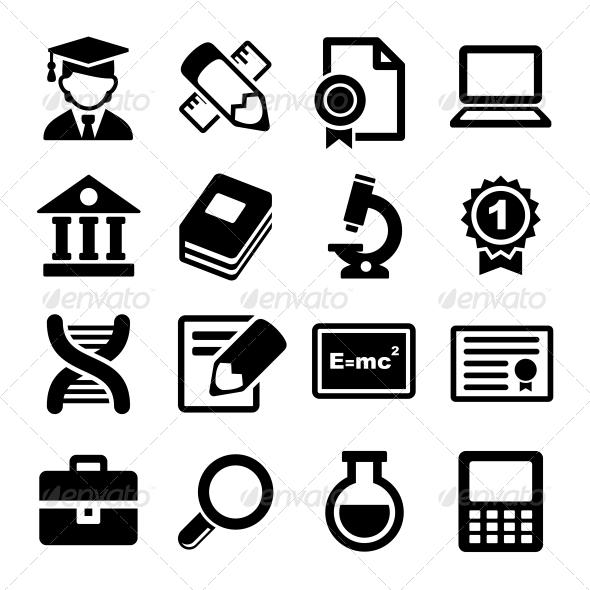 GraphicRiver School and Education Icons Set 5922990
