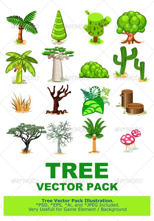 GraphicRiver Tree Vector Illustration Collection Pack 5923114