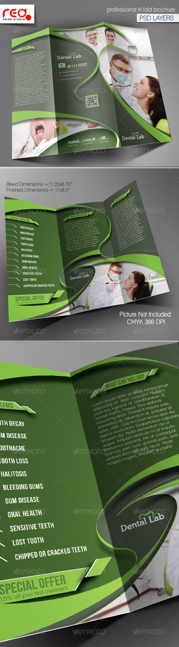 GraphicRiver Dental Trifold Brochure Template 5923122