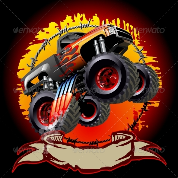 GraphicRiver Cartoon Monster Truck 5923275