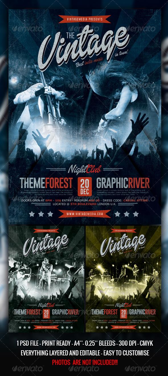 Indierock Vintage Concert Flyer Poster
