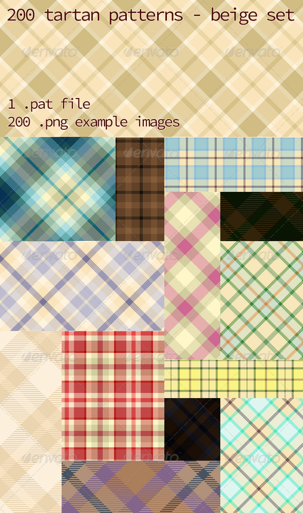 GraphicRiver Tartan Pattern Collection Beige set 5924301