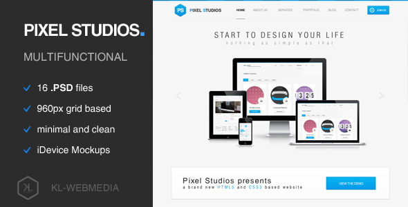 Pixel Studios - Simple PSD Template - Portfolio Creative