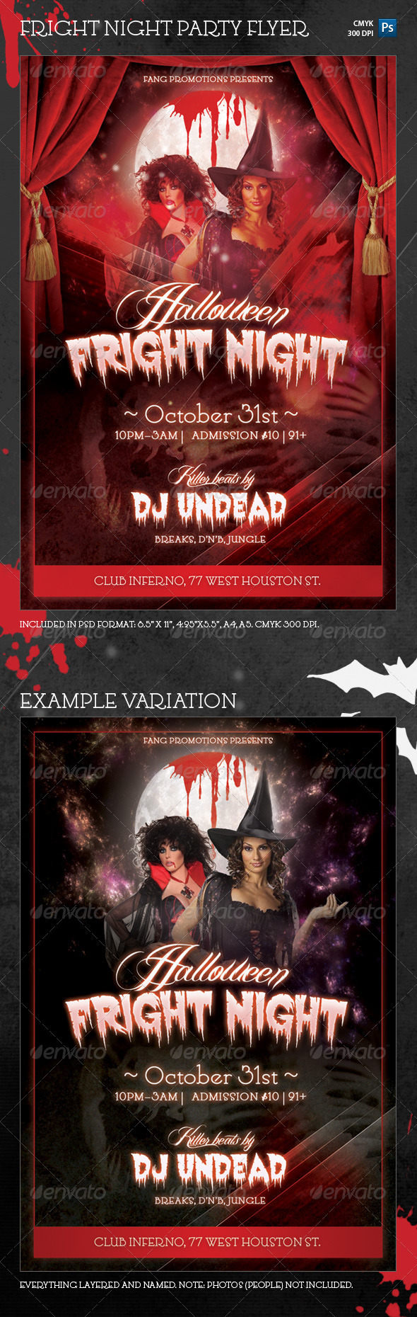 Halloween Fright Night Party Flyer Template - Clubs & Parties Events