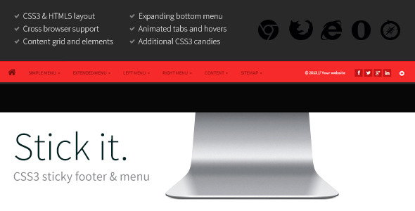 Stick it html5 css3 sticky footer menu navigation and menus want to show your footer or menu stick it maxwellsz