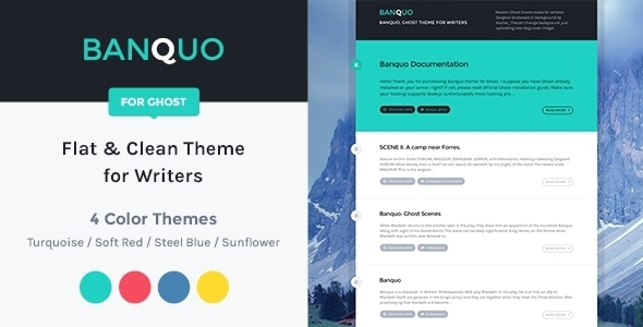 ThemeForest Banquo Clean & Flat Ghost Theme for Writers 5901372