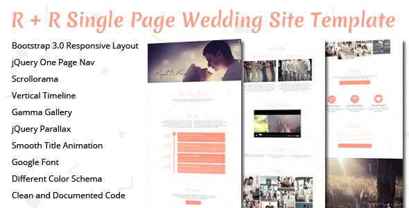 R+R Wedding Landing Page Template