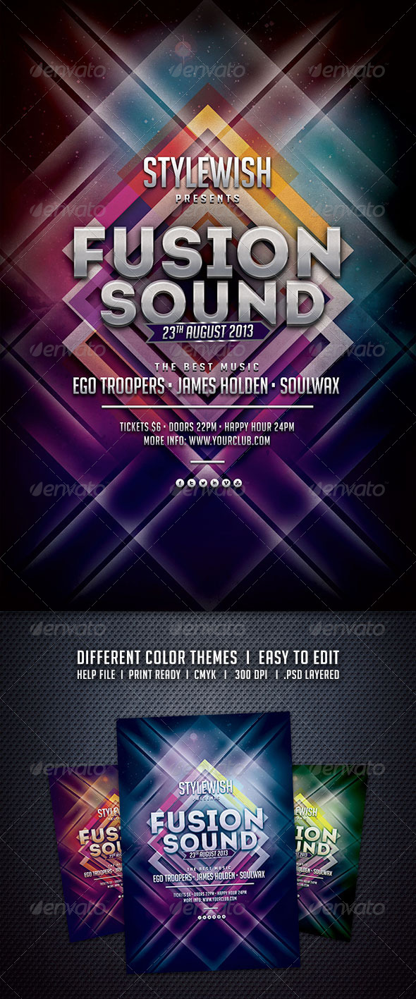 GraphicRiver Fusion Sound Flyer 5925338
