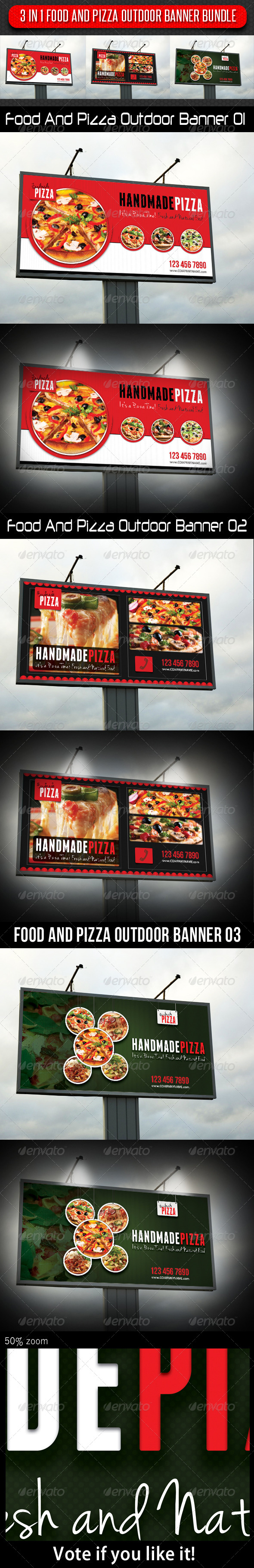 GraphicRiver 3 in 1 Food And Pizza Outdoor Banner Bundle 5925516