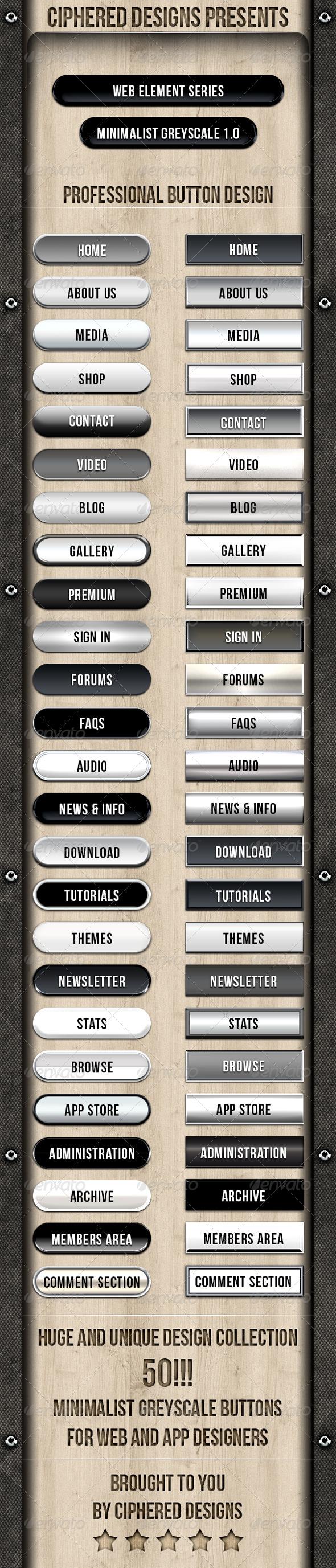 Web Element Series - Minimalist Greyscale 1.0 - Buttons Web Elements