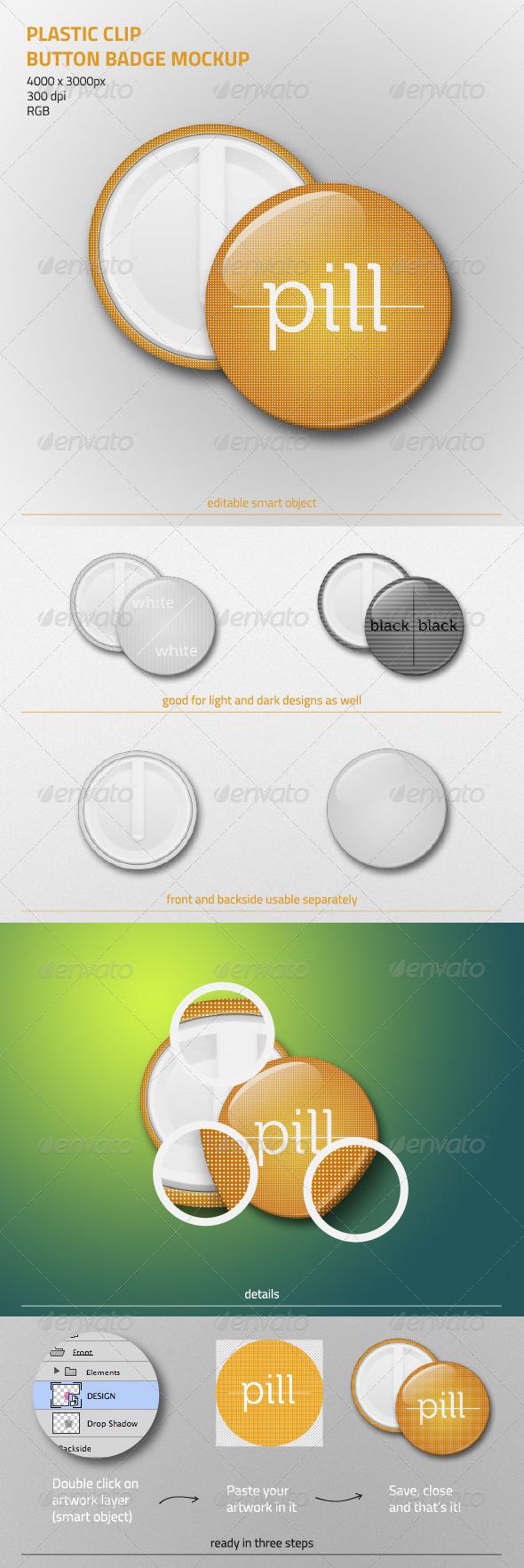 GraphicRiver Plastic Clip Button Badge Mockup 5926476