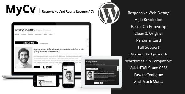 ThemeForest My Cv Responsive And Retina WordPress theme CV 5573448