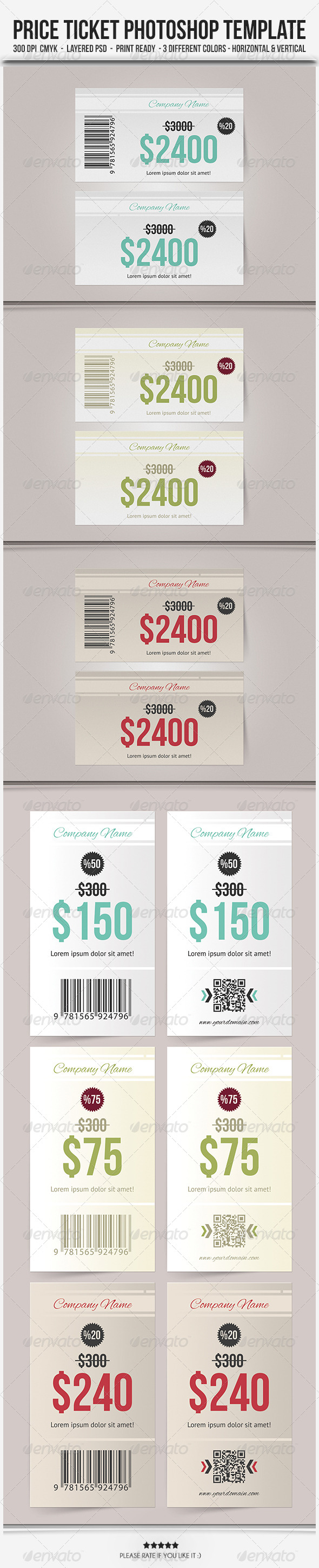 GraphicRiver Price Ticket Photoshop Template 5926591