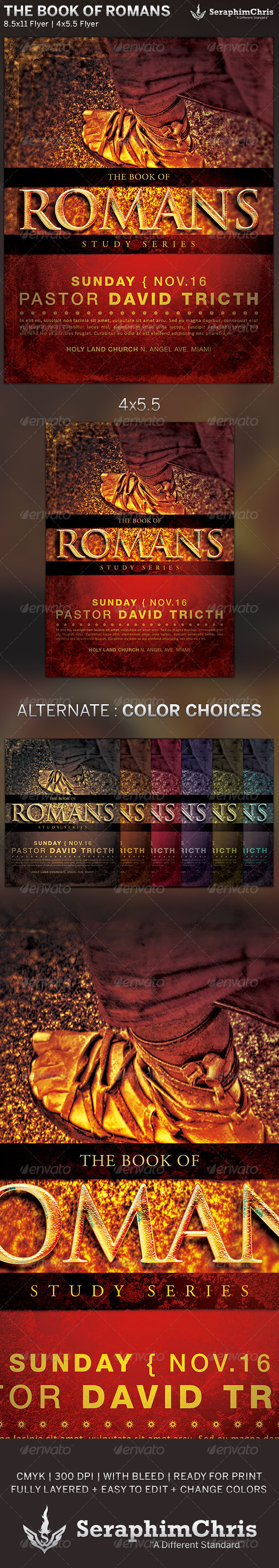 GraphicRiver The Book of Romans Church Flyer Template 5926773