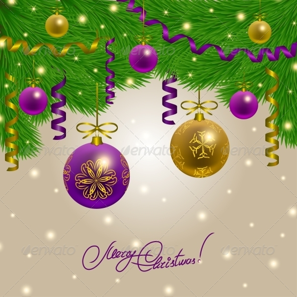 GraphicRiver Background with Baubles Christmas Tree 5926990