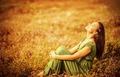 Romantic woman on golden field - PhotoDune Item for Sale