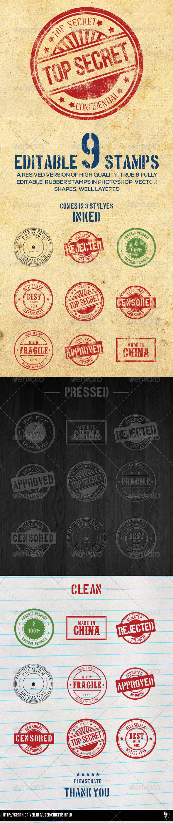 GraphicRiver 9 Editable Photoshop Rubber Stamps 5927832