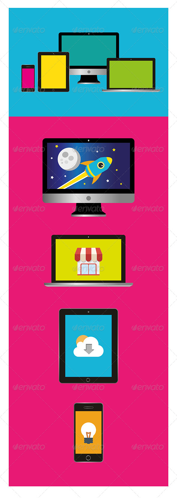 GraphicRiver 4 Flat Apple Devices 5927870