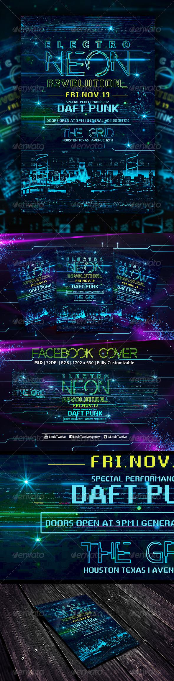GraphicRiver Electro Neon Flyer & Fb Cover 5928420