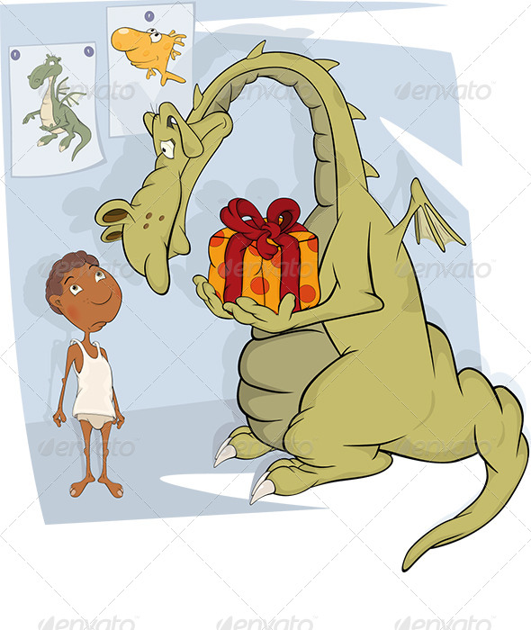 GraphicRiver The Boy and Dragon Cartoon 5929032