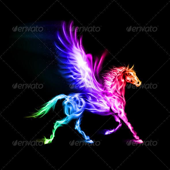 GraphicRiver Colorful Fire Pegasus 5930747