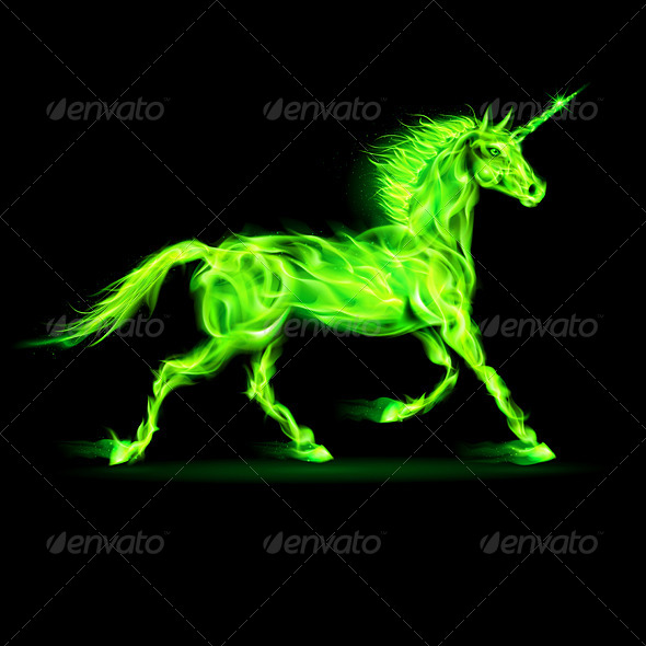 GraphicRiver Green Fire Unicorn 5930882