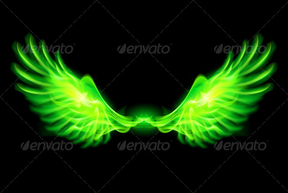 GraphicRiver Green Fire Wings 5931009