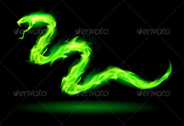 GraphicRiver Green Fire Snake 5931262