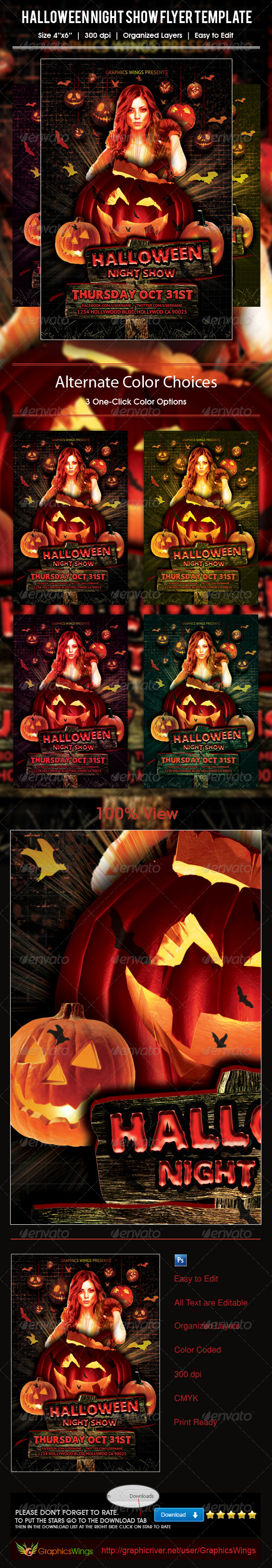 GraphicRiver Halloween Night Show Flyer Template 5933134