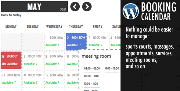 Booking Calendar helps you to easily add to your own wordpress website a powerful and simple booking system to in a few minutes. How it works Administrator can