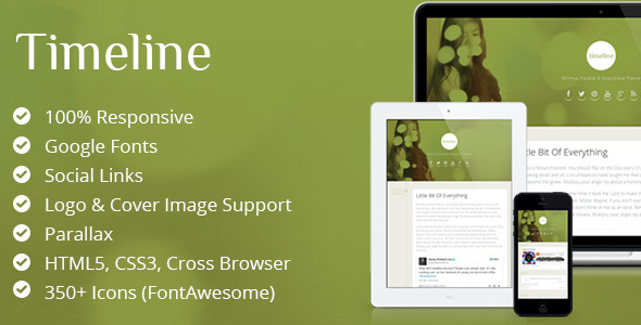 ThemeForest Timeline Minimal & Responsive Ghost Theme 5901434