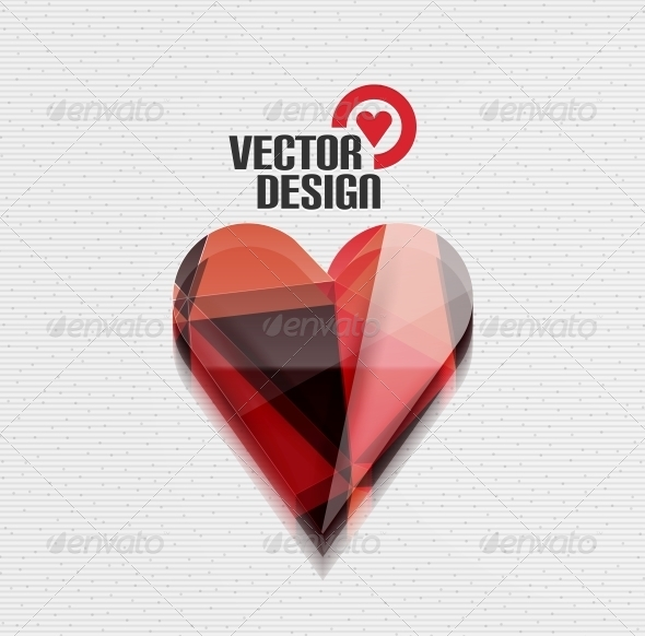 GraphicRiver Vector 3D Glossy Heart Vector Background 5934278