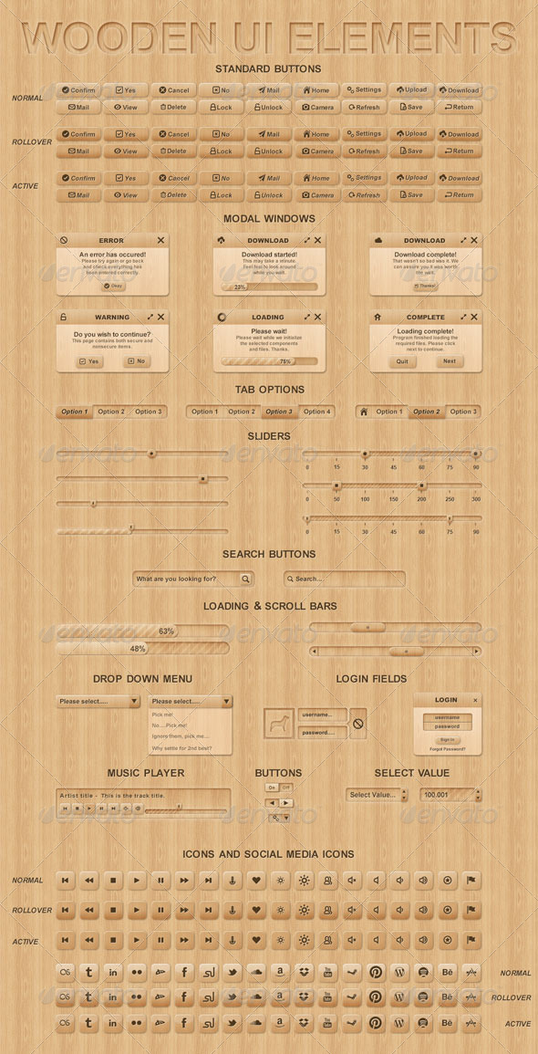 GraphicRiver Wooden UI Elements 5934415