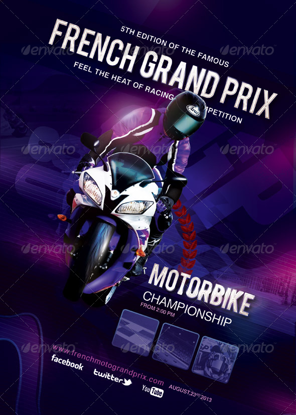 GraphicRiver Flyer Poster French Grand Prix Moto Race 5887251