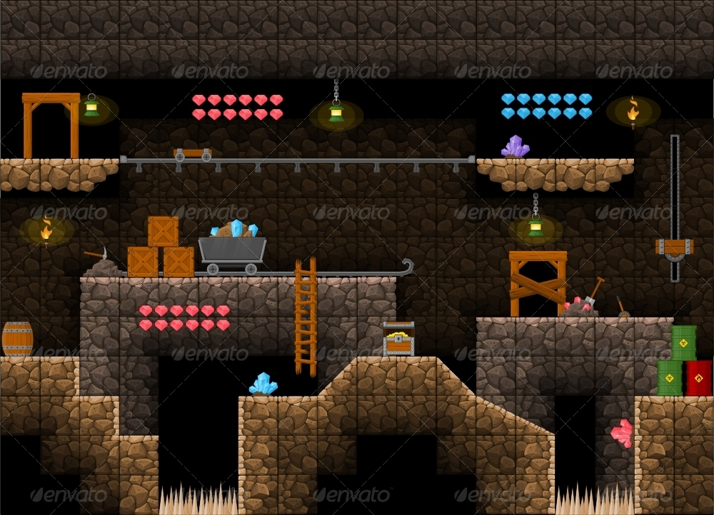 platformer game tile set 11 by pzuh