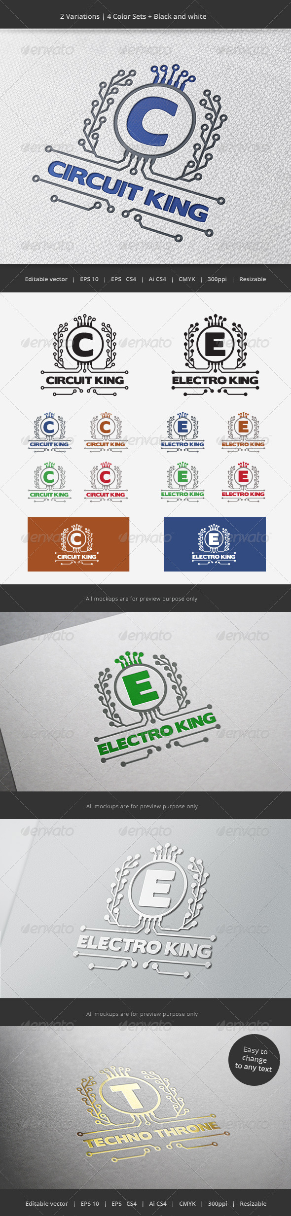 GraphicRiver Electronic King Crest Logo 5930432