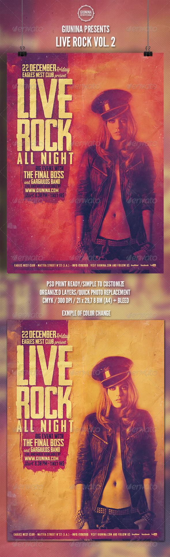 Rock Live Vol.2 Flyer/Poster - Events Flyers
