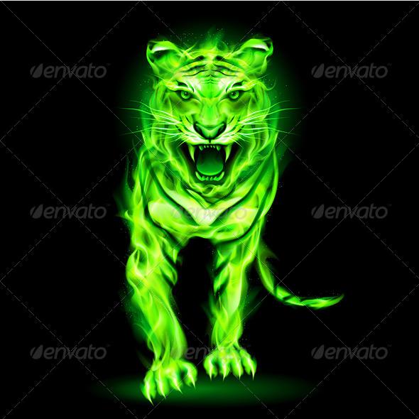 GraphicRiver Green Fire Tiger 5935780