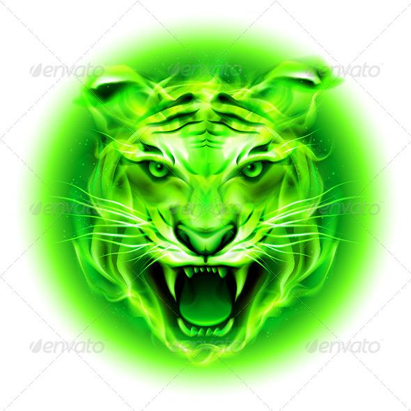 GraphicRiver Green Fire Tiger 5935792