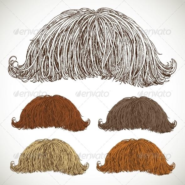 GraphicRiver Classic Retro Lush Mustache Set 5936069