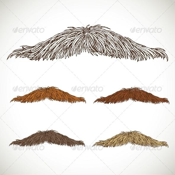 GraphicRiver Classic Retro Thin Mustache Set 5936072