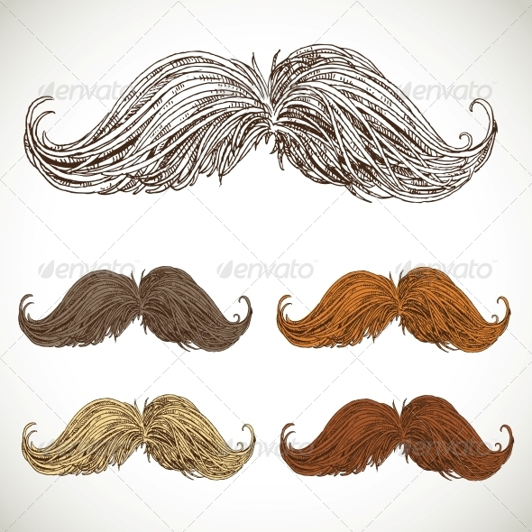 GraphicRiver Classic Retro Twisted Mustache Set 5936102