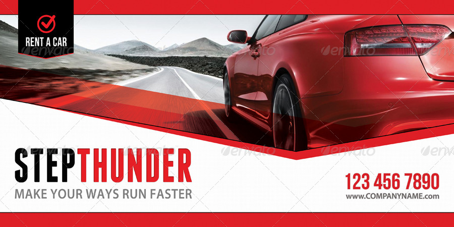 3 In 1 Rent A Car Outdoor Banner Bundle 01 By Rapidgraf