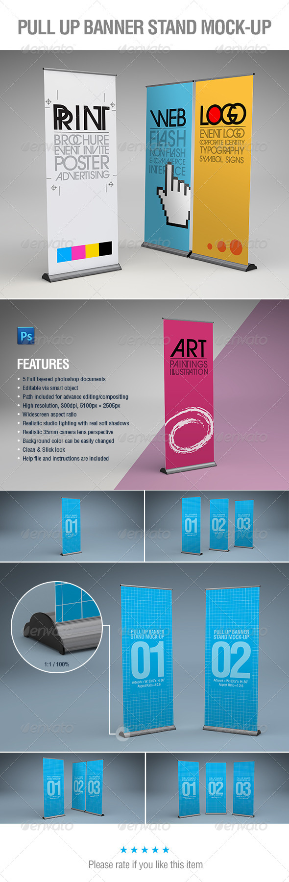 GraphicRiver Pull Up Banner Stands Mock-Up 5936187