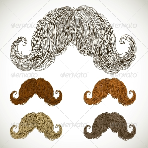 GraphicRiver Lush Mustache Groomed in Several Colors 5936992