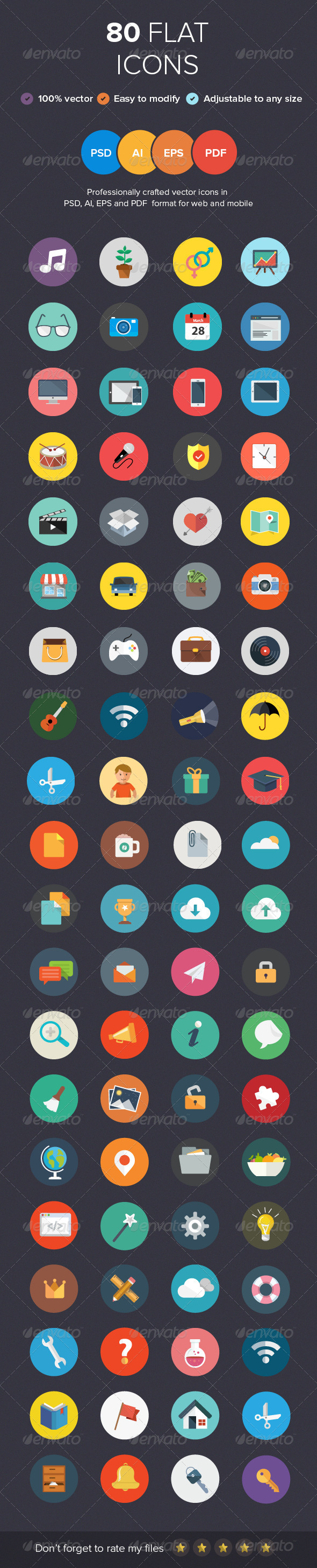 GraphicRiver 80 Flat Icons 5924400