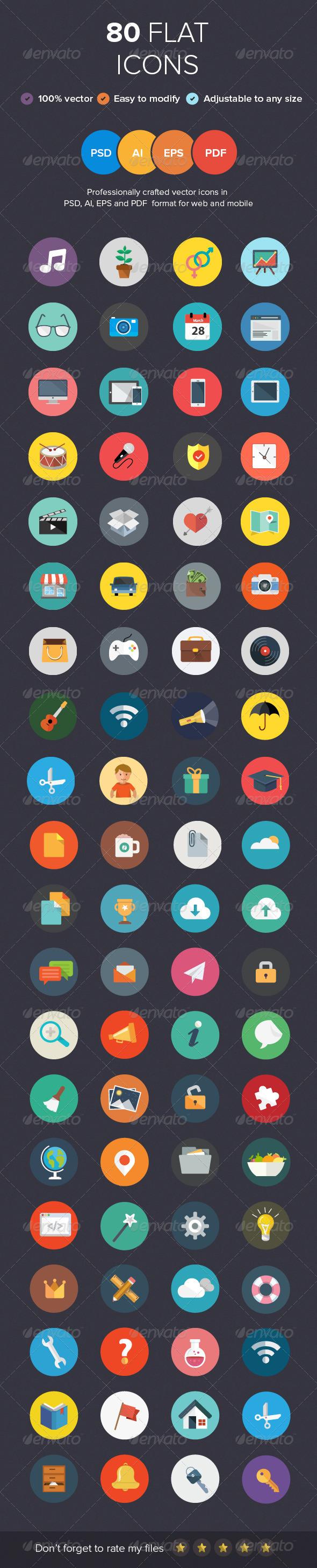 80 Flat Icons - Icons