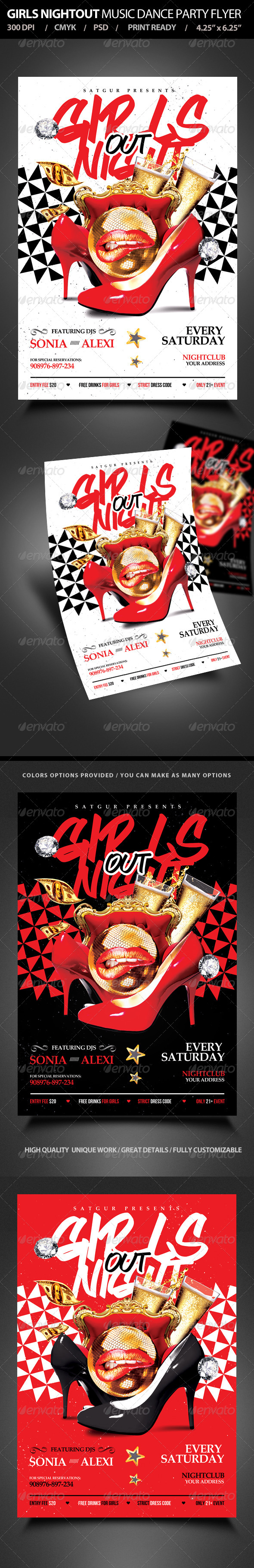 Girls Night Out Music Dance Party Flyer - Clubs & Parties Events